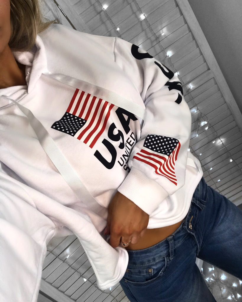 USA White Slogan Hooded Jumper