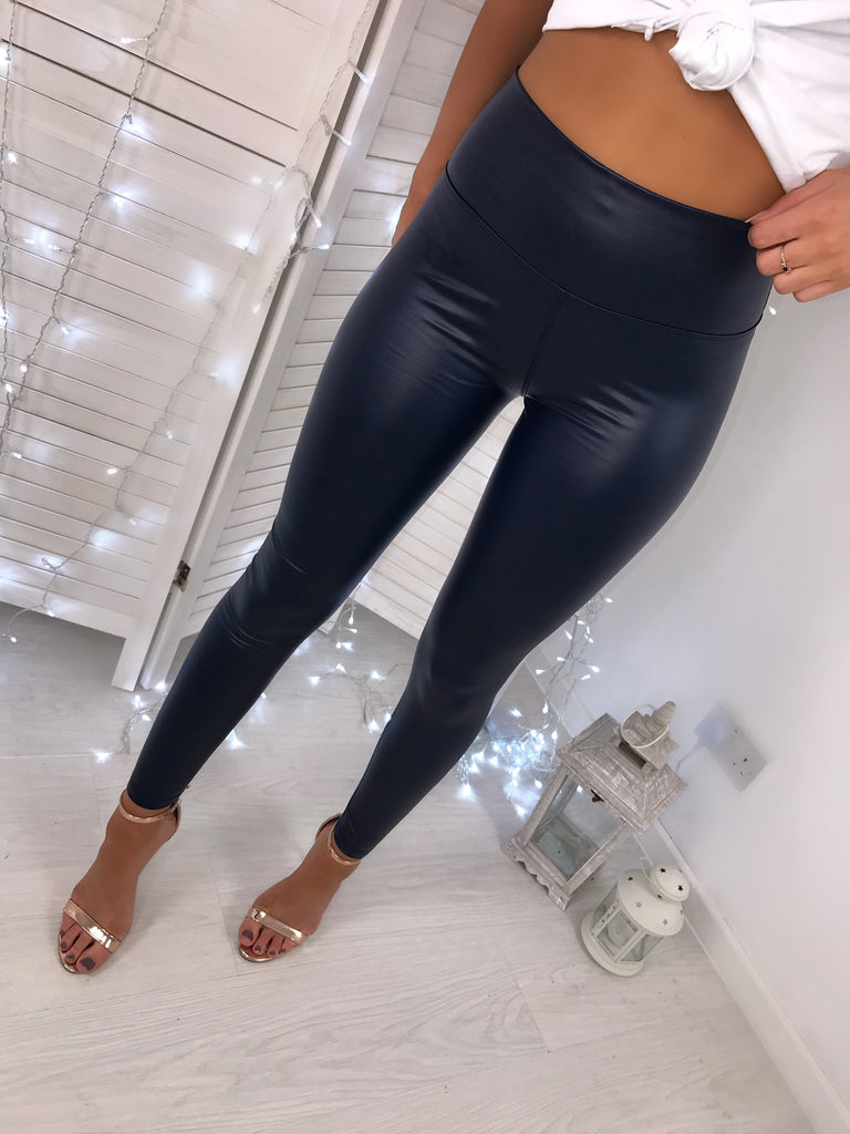 Navy Leather Look High-Waisted Leggings