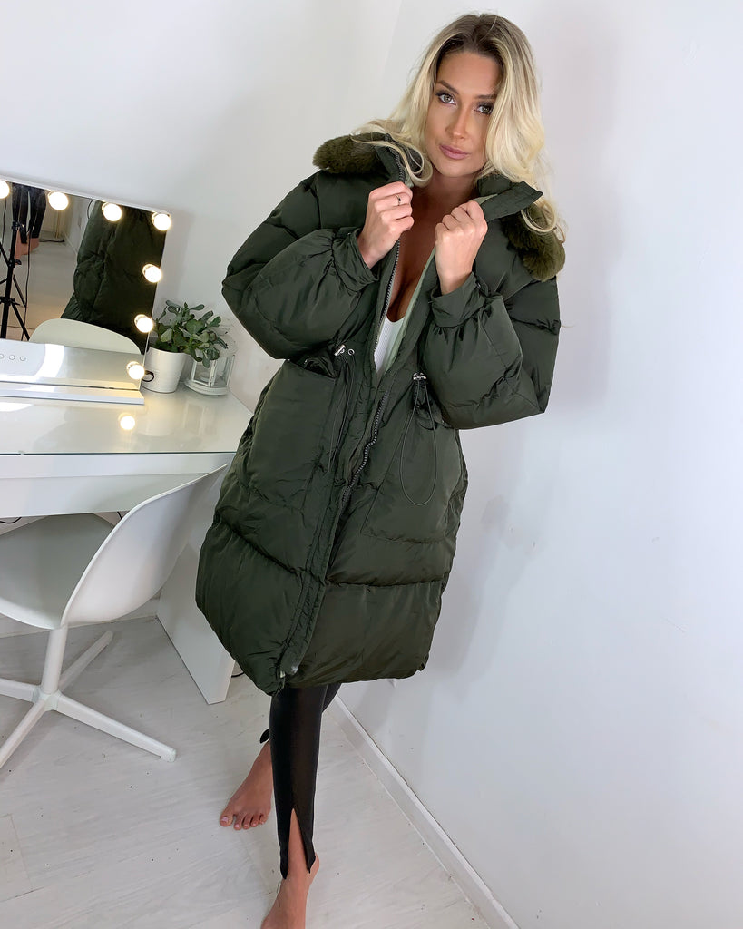 'Jax' Khaki Longline Puffer Coat with Faux-Fur Hood