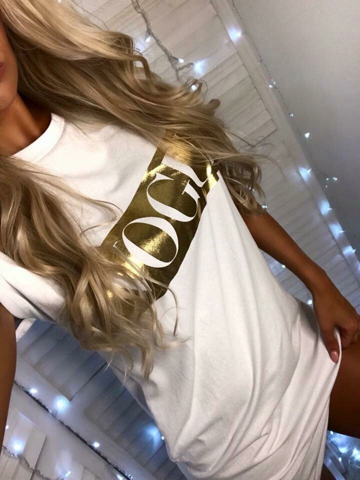 'VOGUE' White Slogan T-Shirt Dress