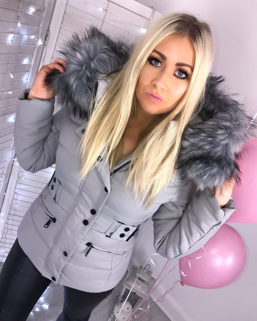 'Sayla' Grey Puffer Coat with Faux-Fur Hood