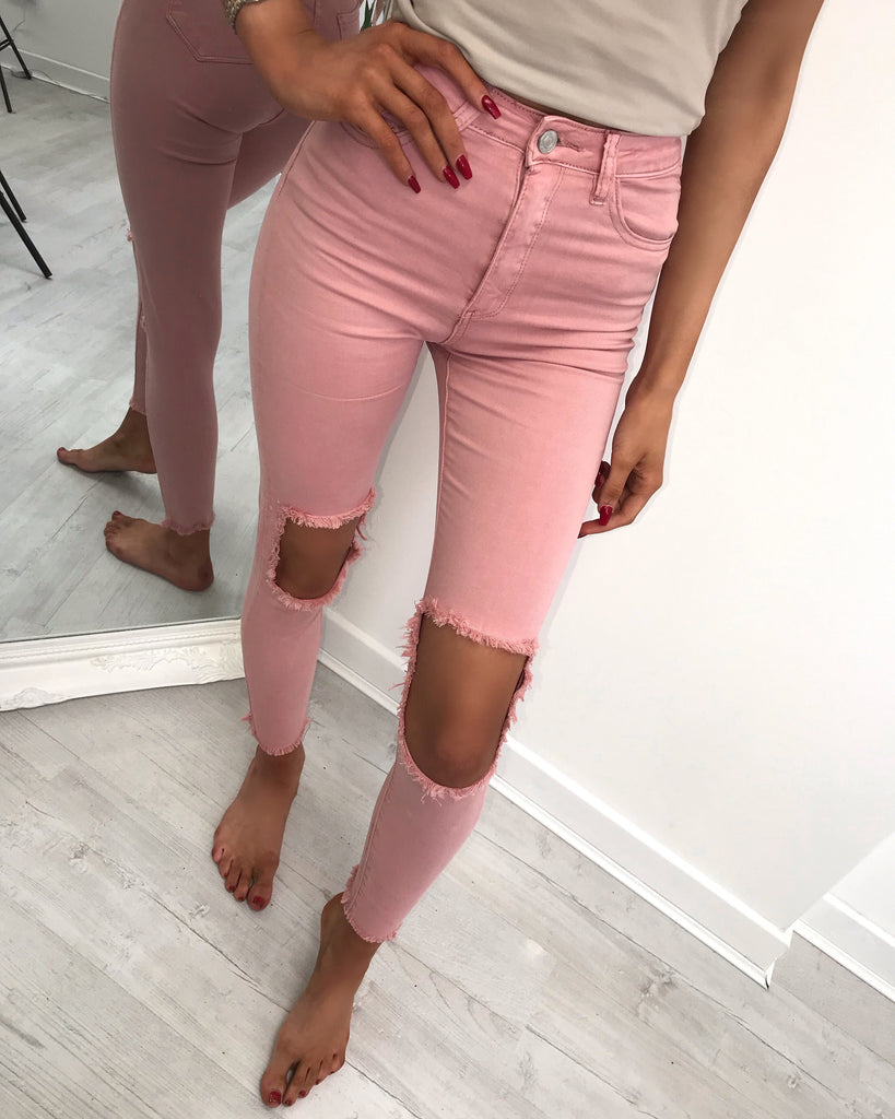 'Georgia' Dusky Pink Ripped Detail High-Waisted Skinny Jeans