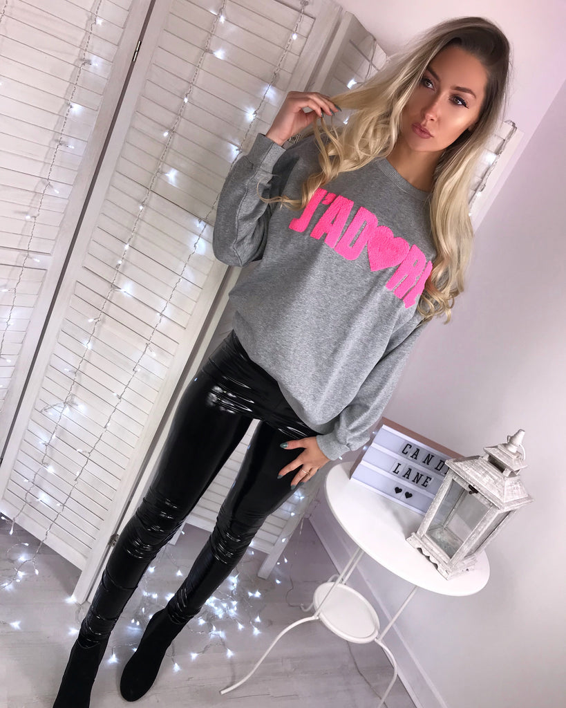 'J'ADORE' Grey & Pink Slogan Jumper