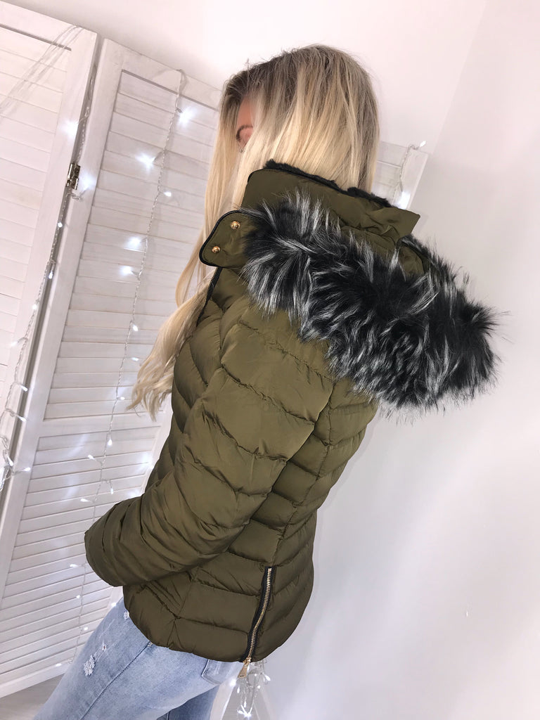 'Kelsey' Khaki Puffer Jacket with Faux Fur Hood