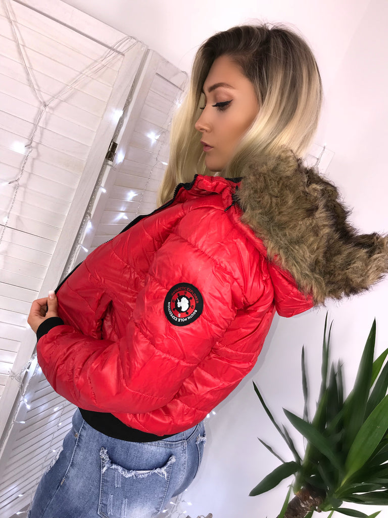 'Kenny' Red Puffer Jacket with Faux-Fur Hood