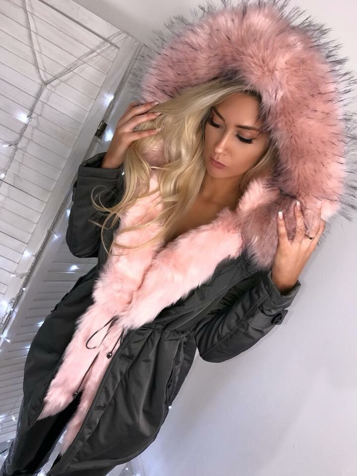 'Marissa' Grey LUXE Parka with PINK Faux-Fur Hood & Lining