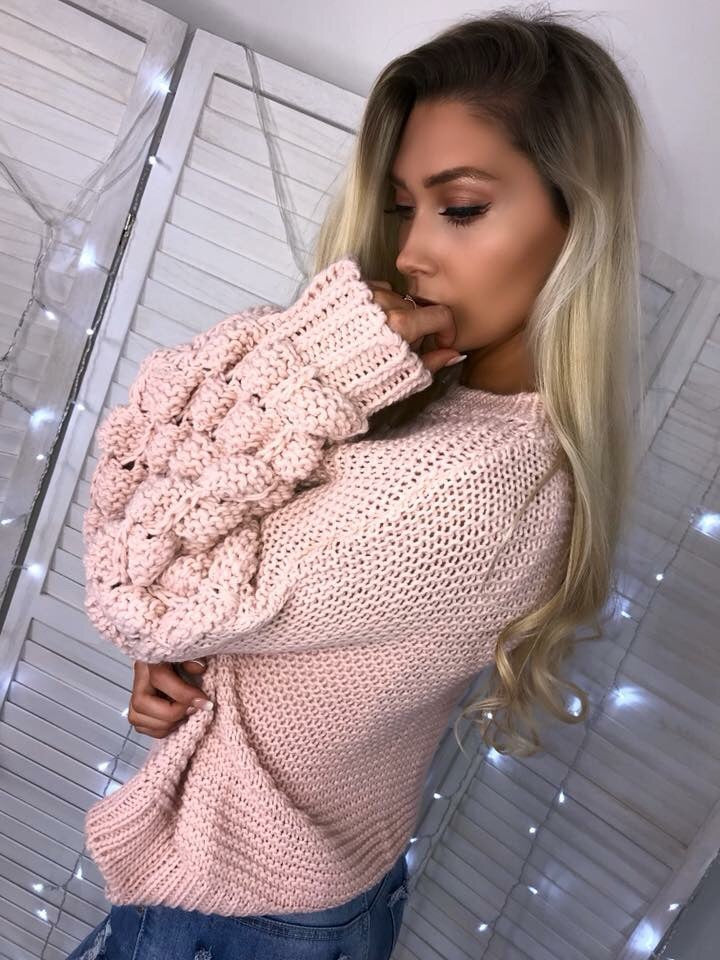 'Jada' Pink Chunky Knit Bubble-Sleeve Jumper