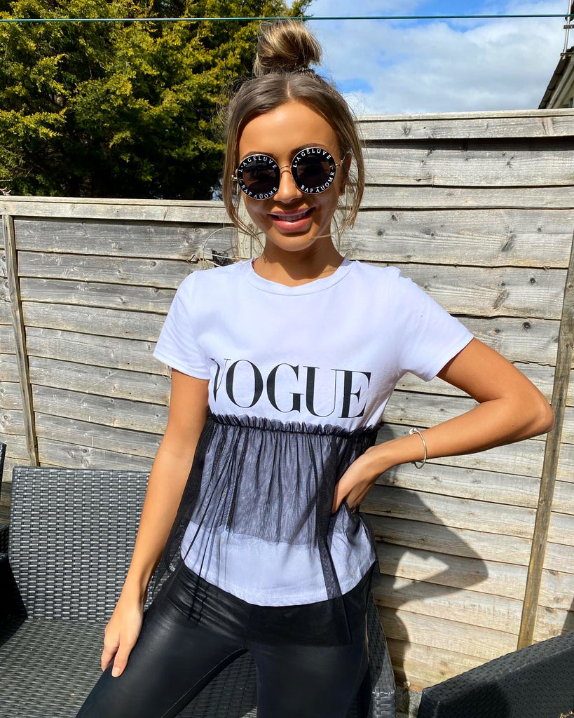 *'VOGUE' White Slogan Tee with Netting Detail*