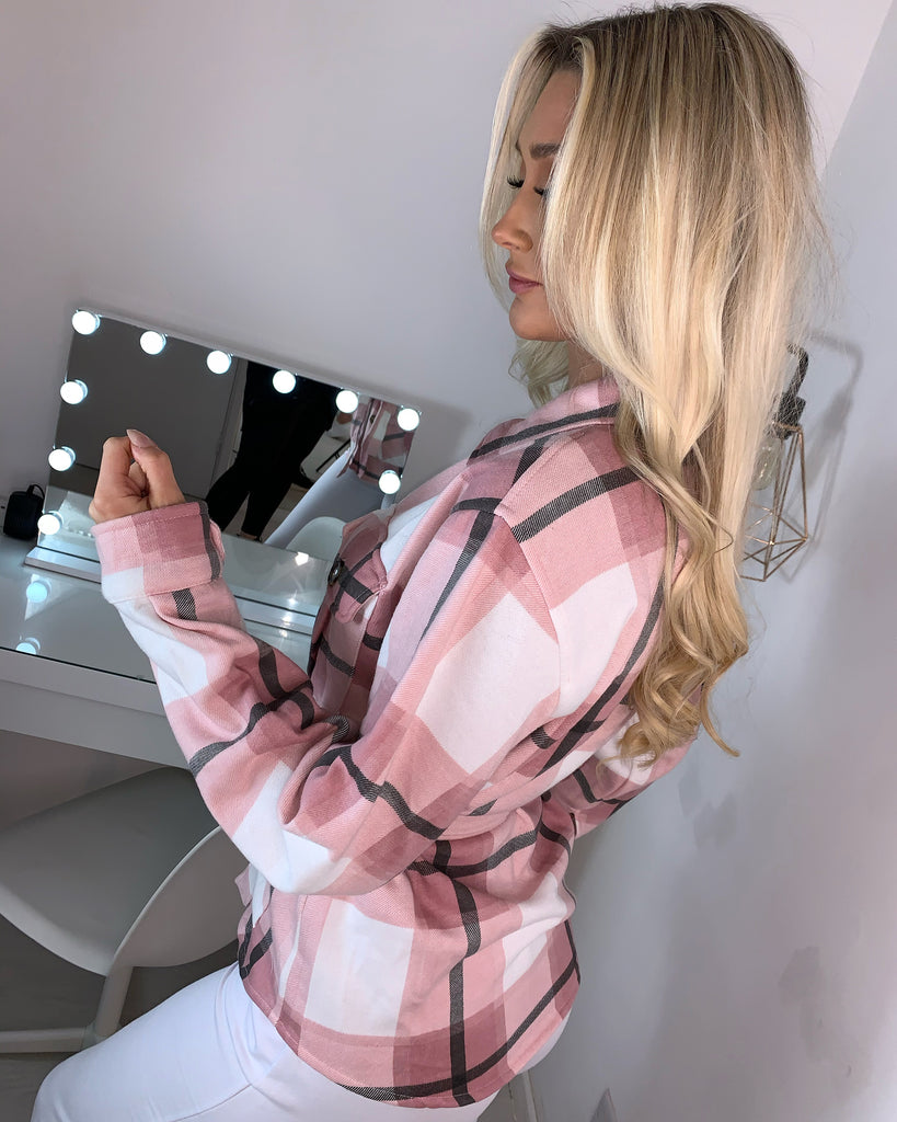 'Katerina' Pink Check Shacket with Tie-Belt