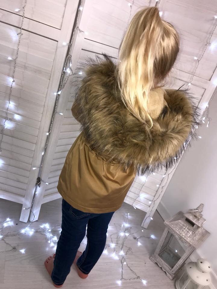 CHILDRENS Gold LUXE Parka with Faux-Fur Hood & Fleece Lining