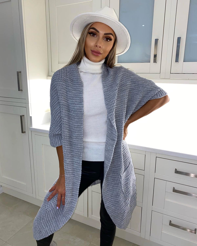 'Luna' Grey Knitted Short-Sleeve Cardigan