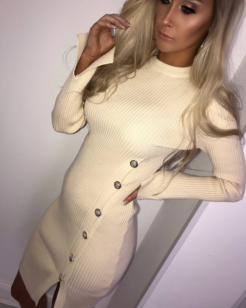 'Carmel' Cream Knitted Long-Sleeve Dress with Gold Button-Detail