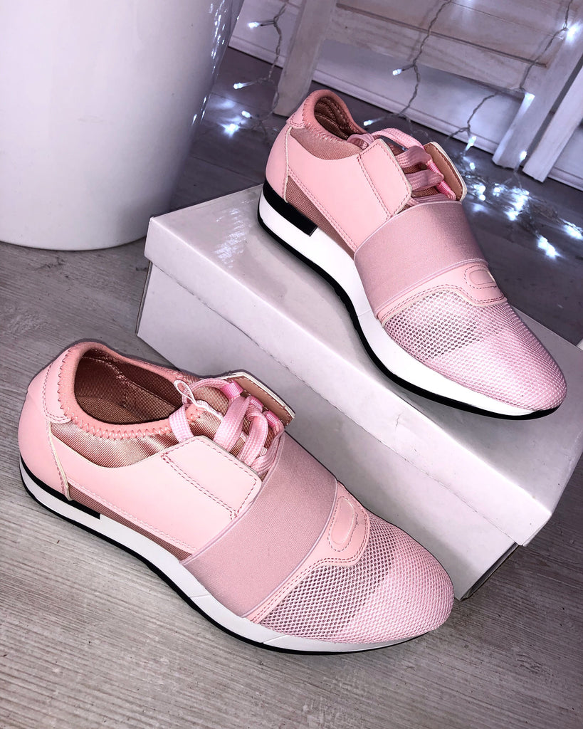 'Kye' Pink Mesh Two Tone Lace Up Trainers