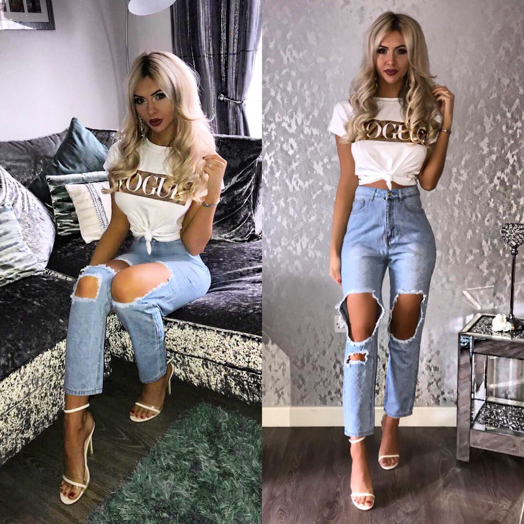 'Bailey' Light- Denim Super-Distressed High-Waisted Jeans