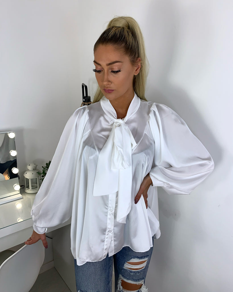 'Lizi' White Satin Bow-Detail Blouse