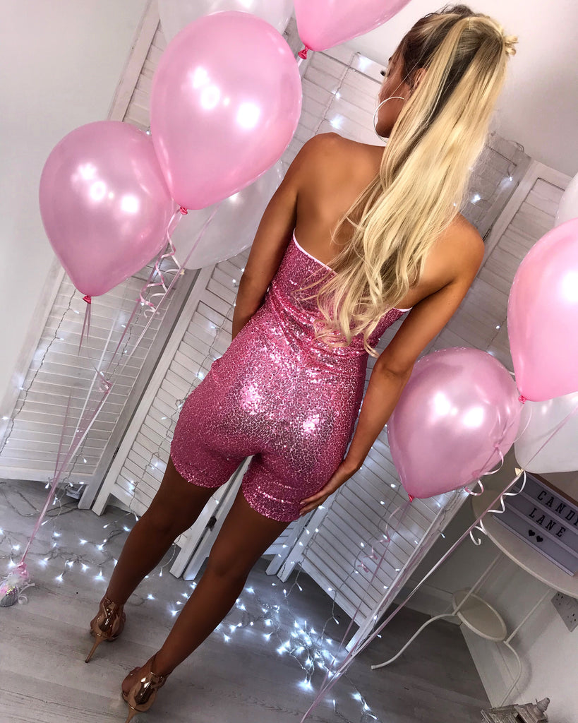 'Valencia' Pink Sequin Bardot Playsuit