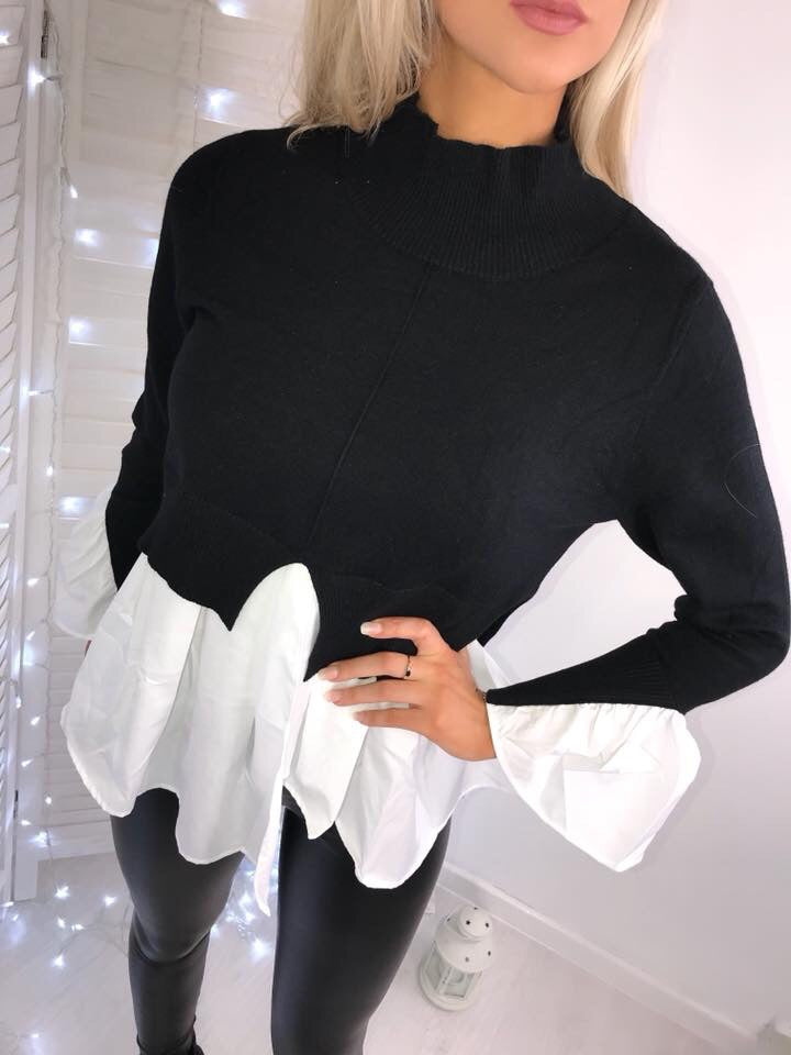 'Isla' Black Knitted High-Neck Shirt Jumper