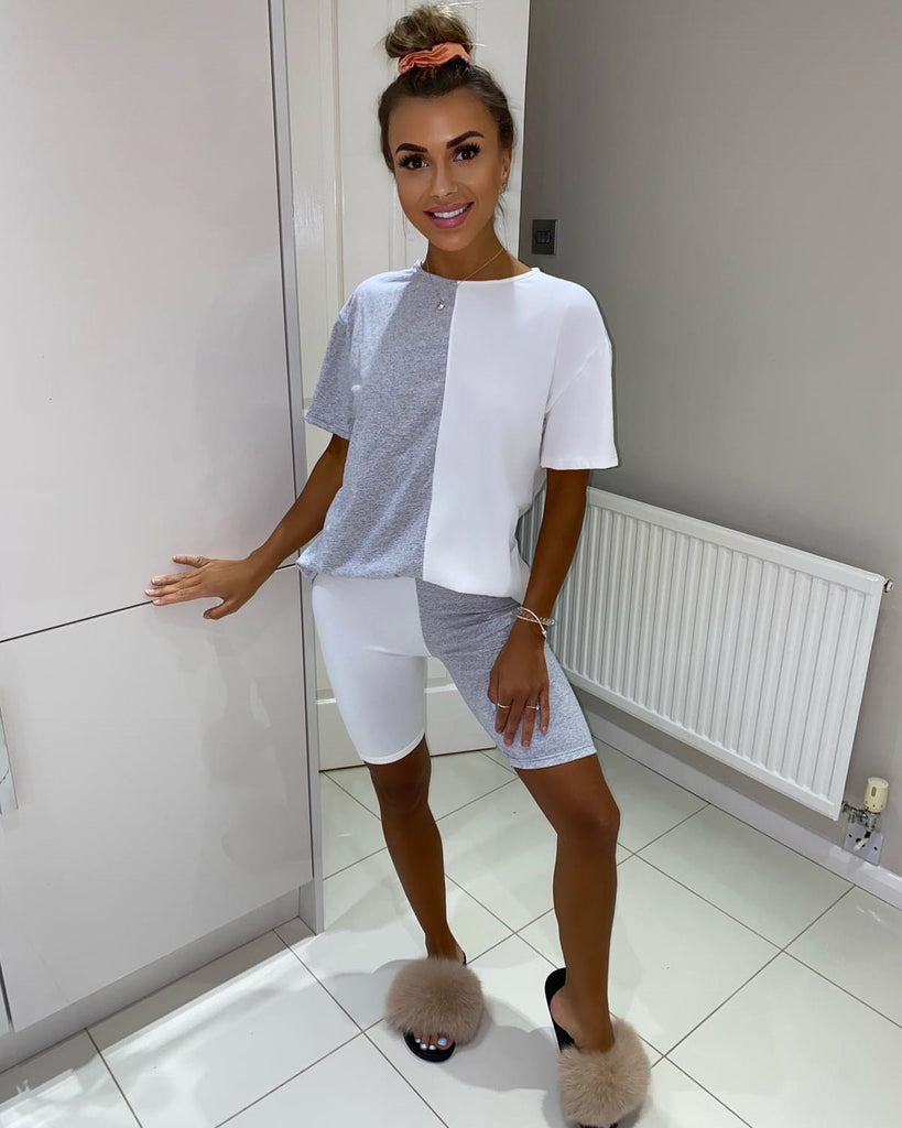 'Erin' Grey & White Contrast T-Shirt & Cycling Shorts Co-Ord Set