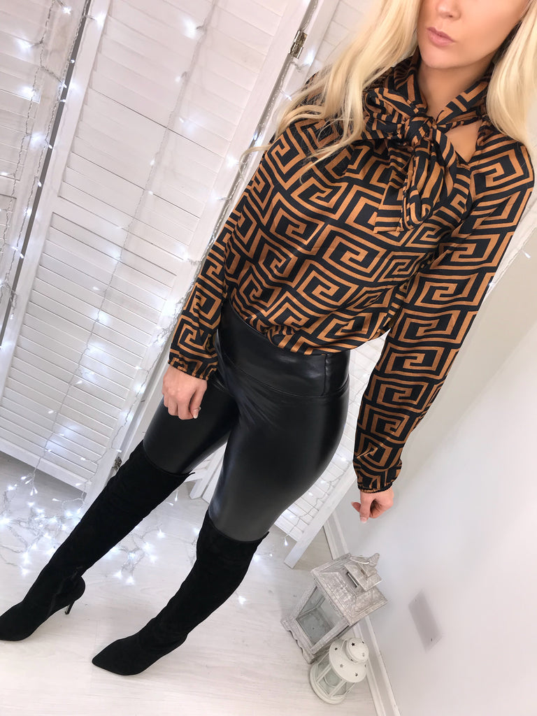 'Delta' Bronze & Black Print Satin Pussy-Bow Blouse