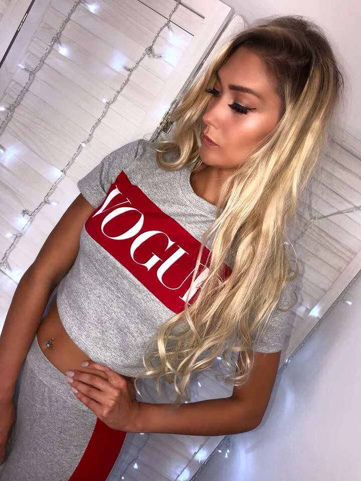 'VOGUE' Grey & Red Crop Co-Ord Set