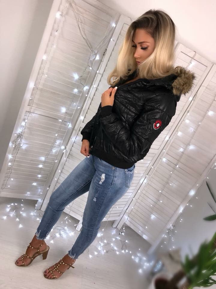 'Kenny' Black Puffer Jacket with Faux-Fur Hood