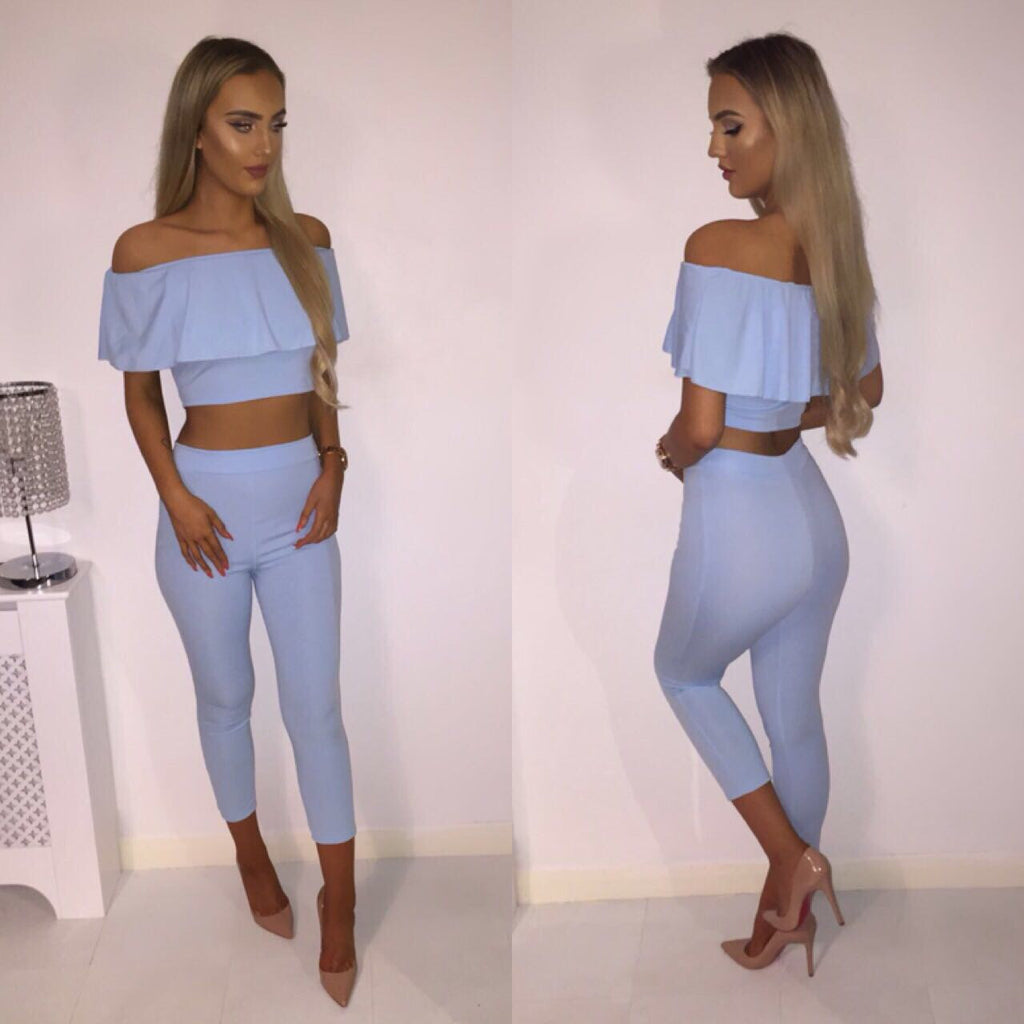'Sophena' Powder Blue Bardot-Frill Two-Piece Set