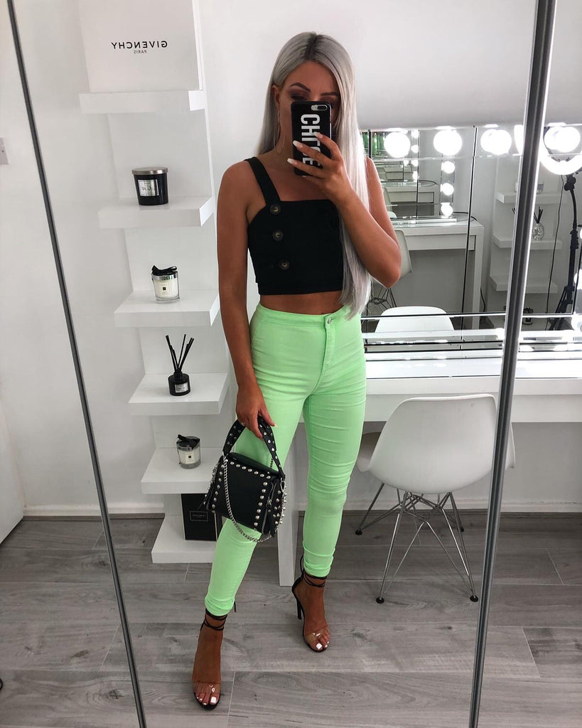 'Bree' Green High-Waisted Skinny Jeans