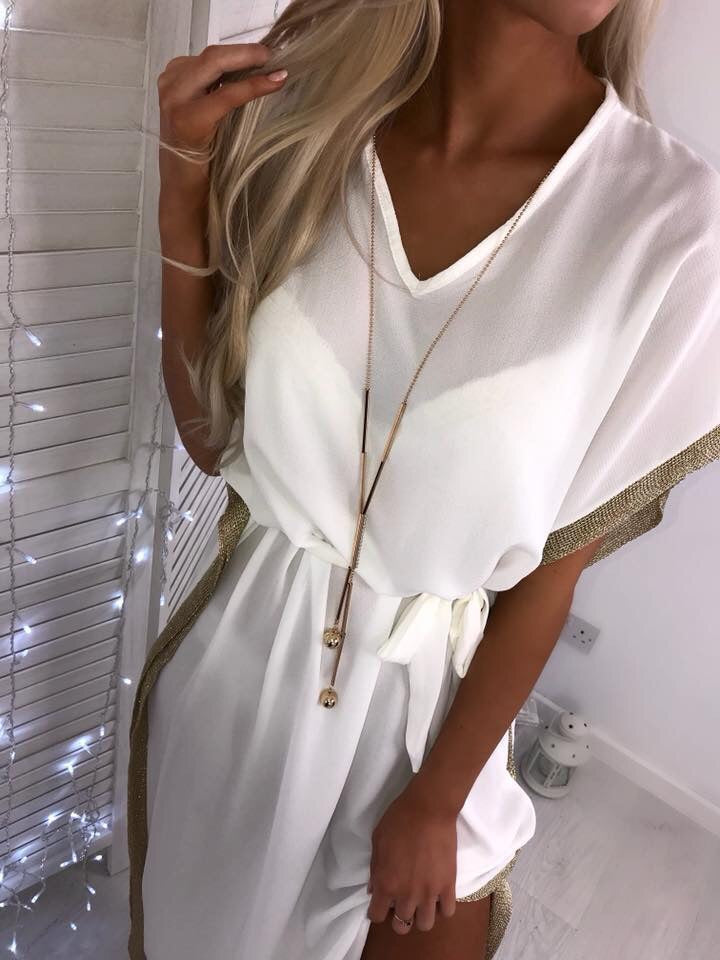 'Raya' White Maxi Dress with Gold Trim