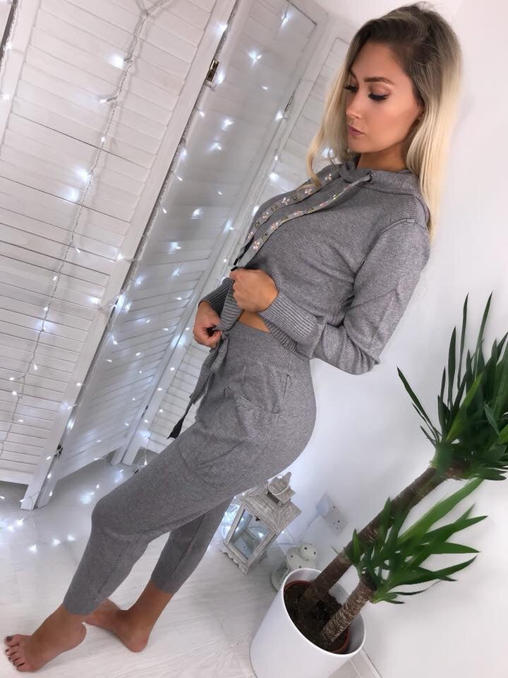 'Kitty' Grey Hooded Loungesuit with Bejewelled Detailing (PRE ORDER 14-21 DAYS DELIVERY)