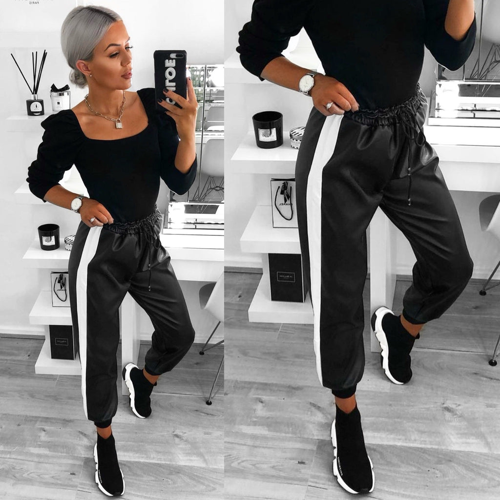 'Molly' Black PU Joggers with White Side Stripe