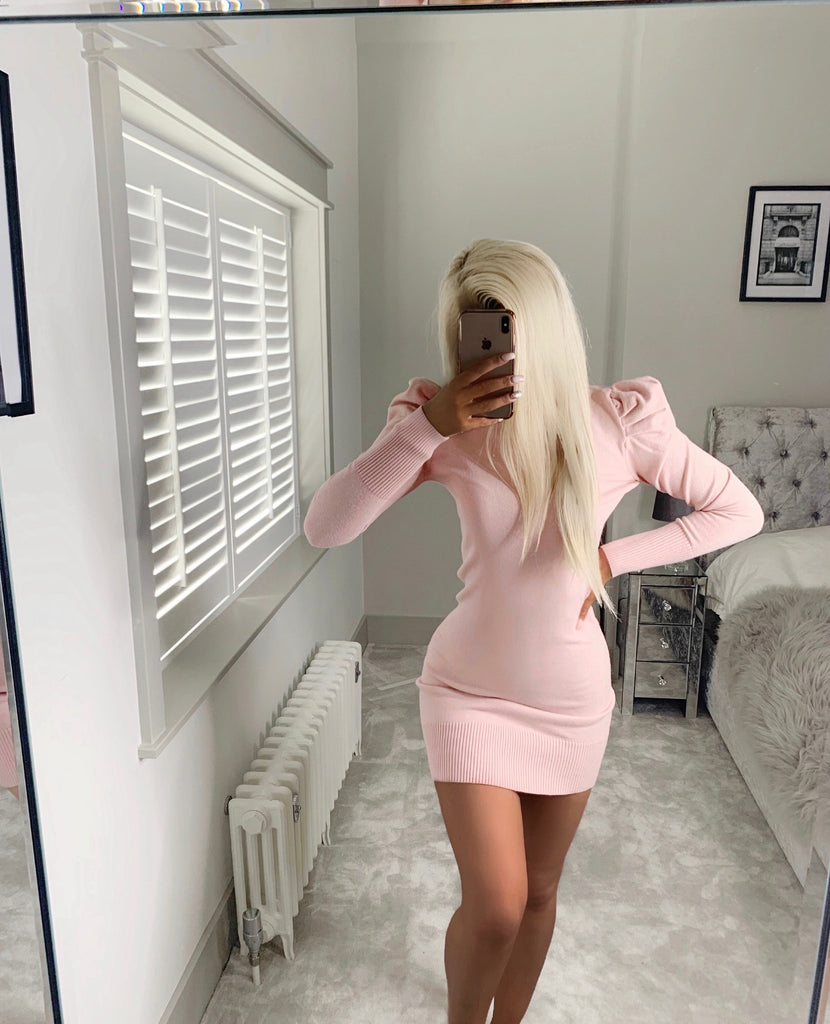 'Tonie' Pink Knitted Puff-Sleeve Bodycon Dress