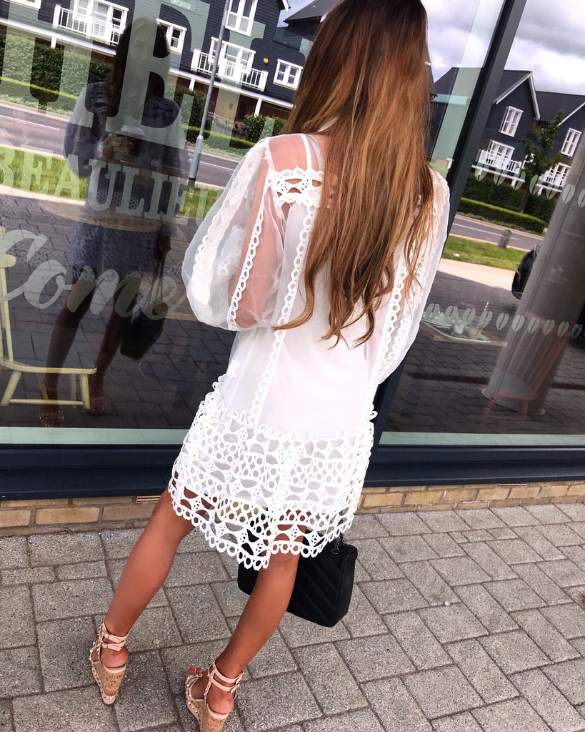 'Cadence' White Sheer Dress with Crochet Detailing