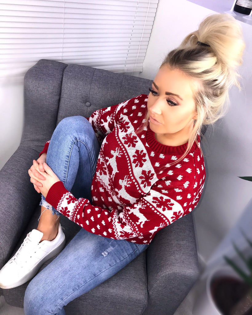 'Caley' Red Knit Snowflake Christmas Jumper