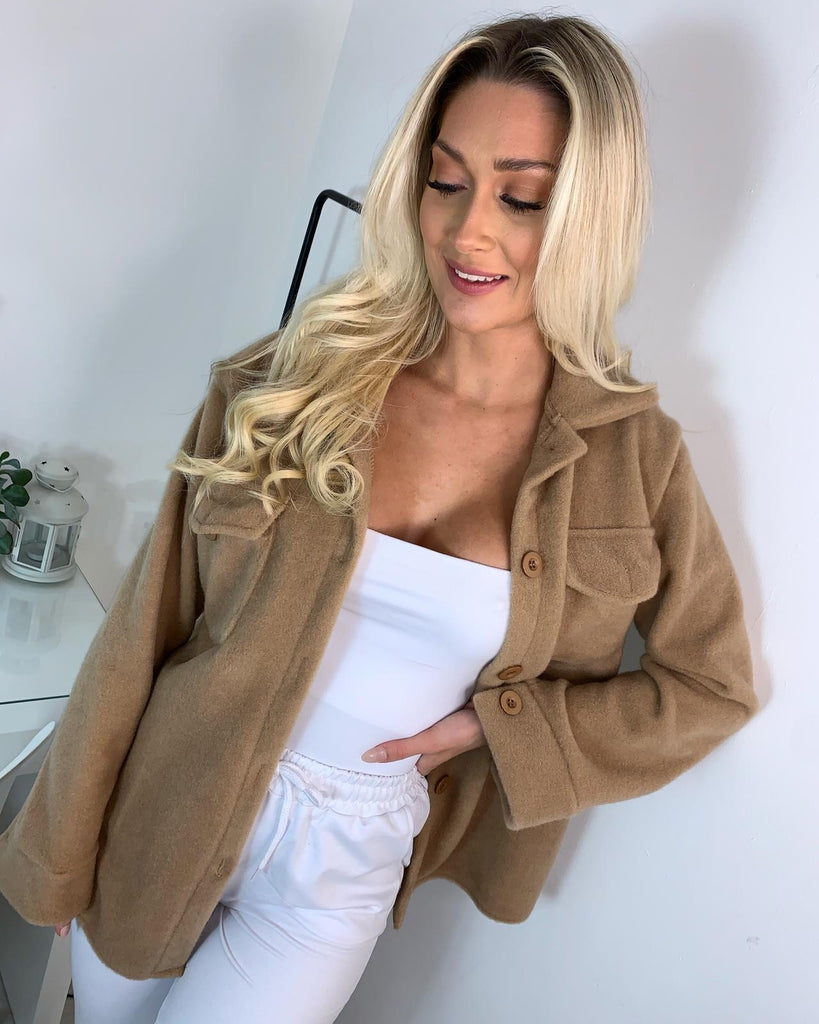 'Sayla' Camel Brushed Button Down Shacket