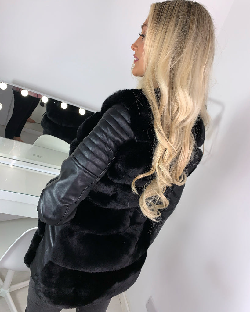 'Rae' Black Faux Leather Coat with Fur Detail