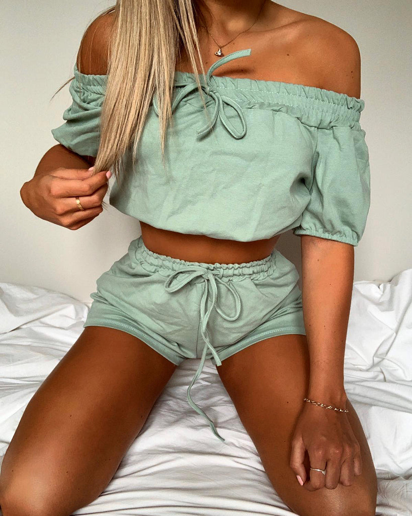 'Lilly' Mint Off-Shoulder Co-Ord Set