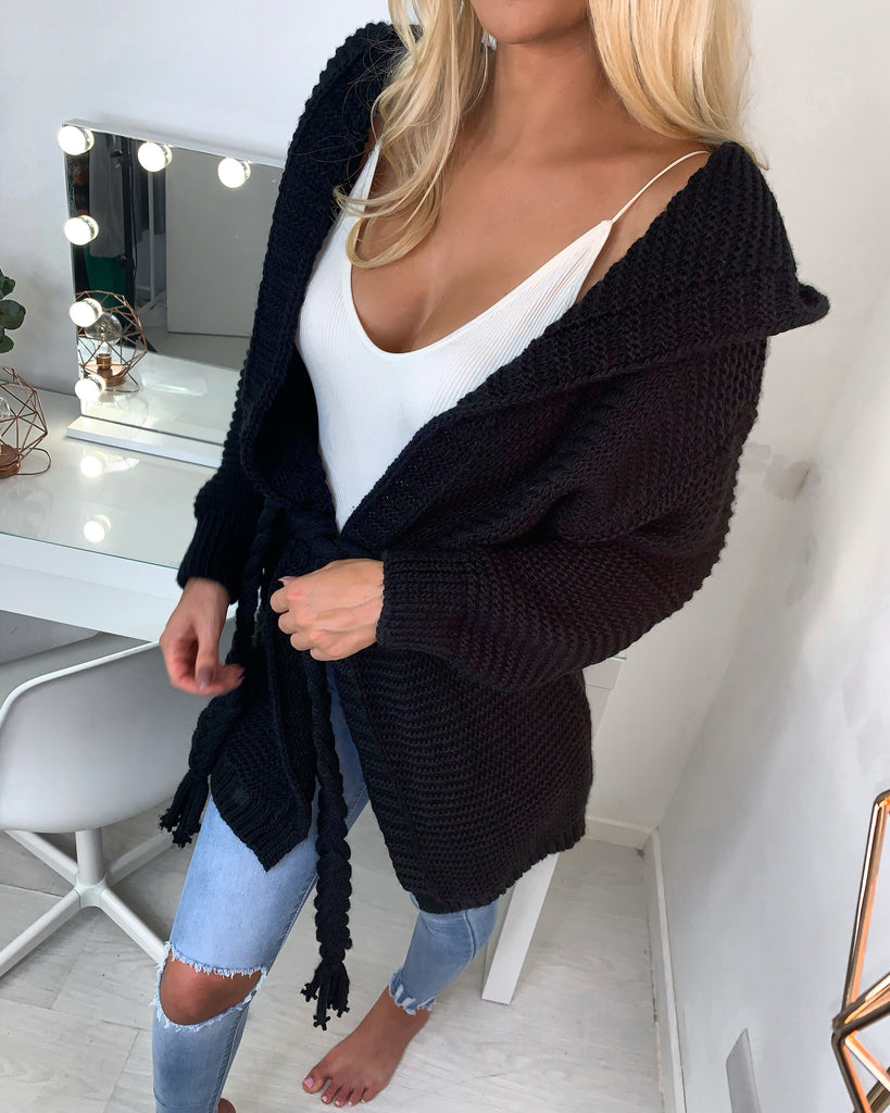 'Addie' Black Heavy-Knit Hooded Cardigan