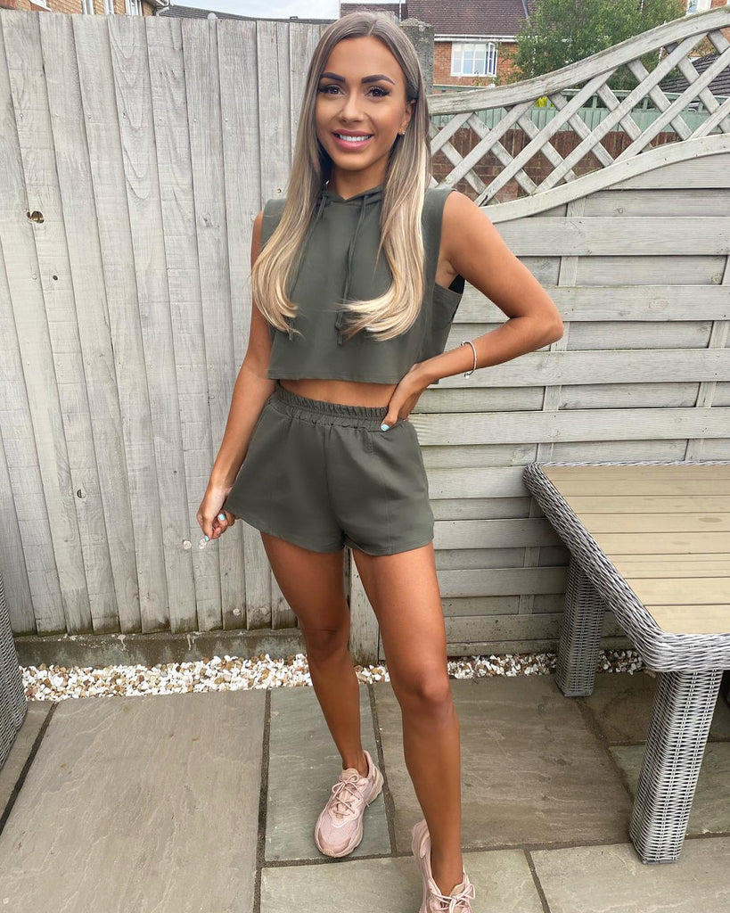 'Liza' Khaki Top & Shorts Co-Ord Set