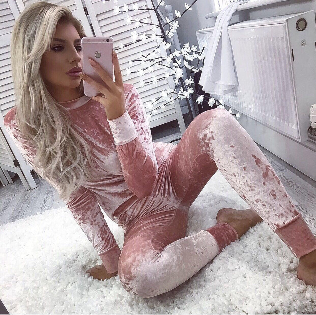 Baby Pink Crushed Velvet Loungesuit (PRE ORDER 7-10 DAYS DELIVERY)