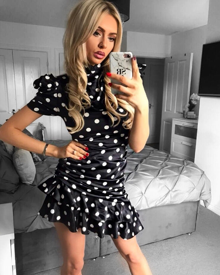 'Grace' Black & White Satin Polka Ruched Dress