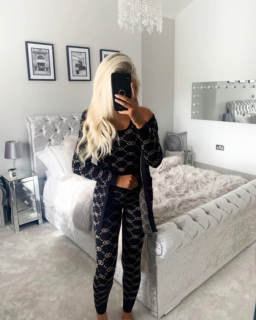 'Tilly' Black & Gold knitted 3 piece set