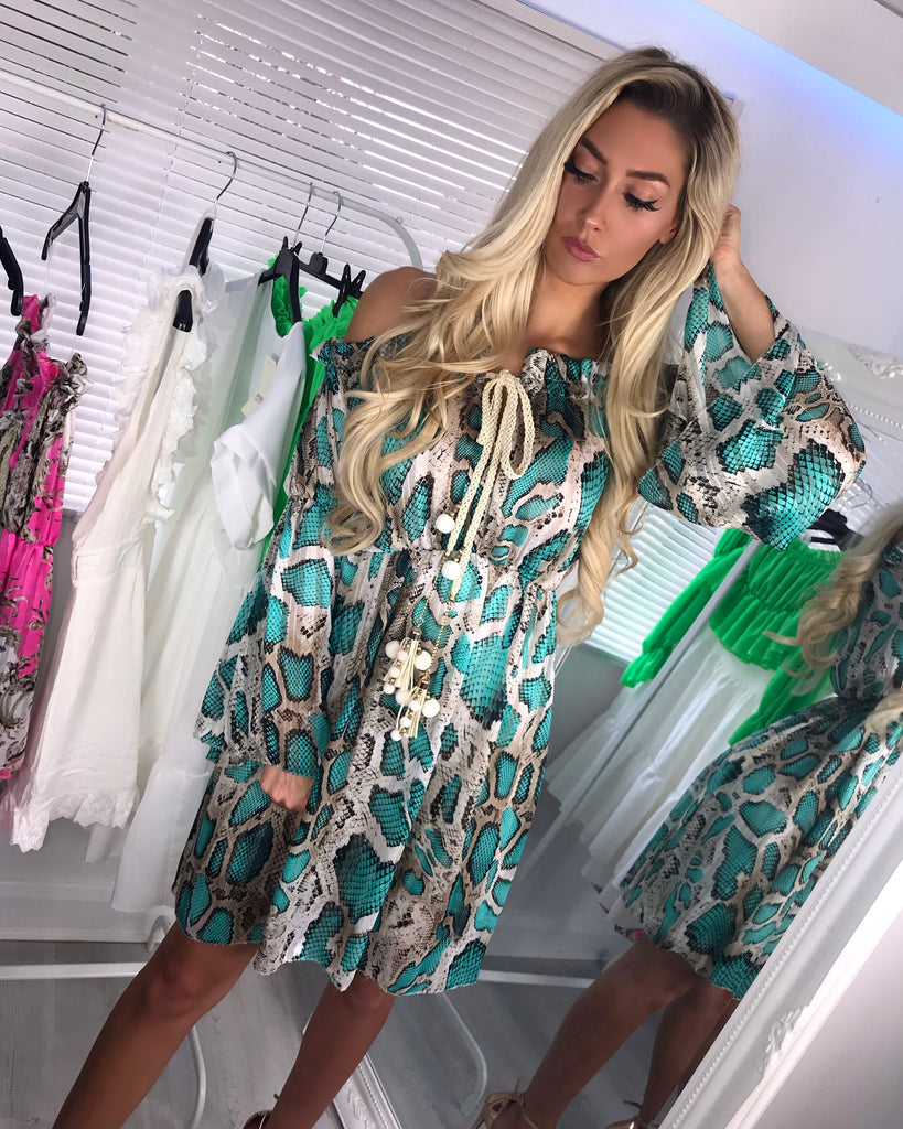 'Chelsea' Off- Shoulder Turquoise Print Dress with Drawstring Detail