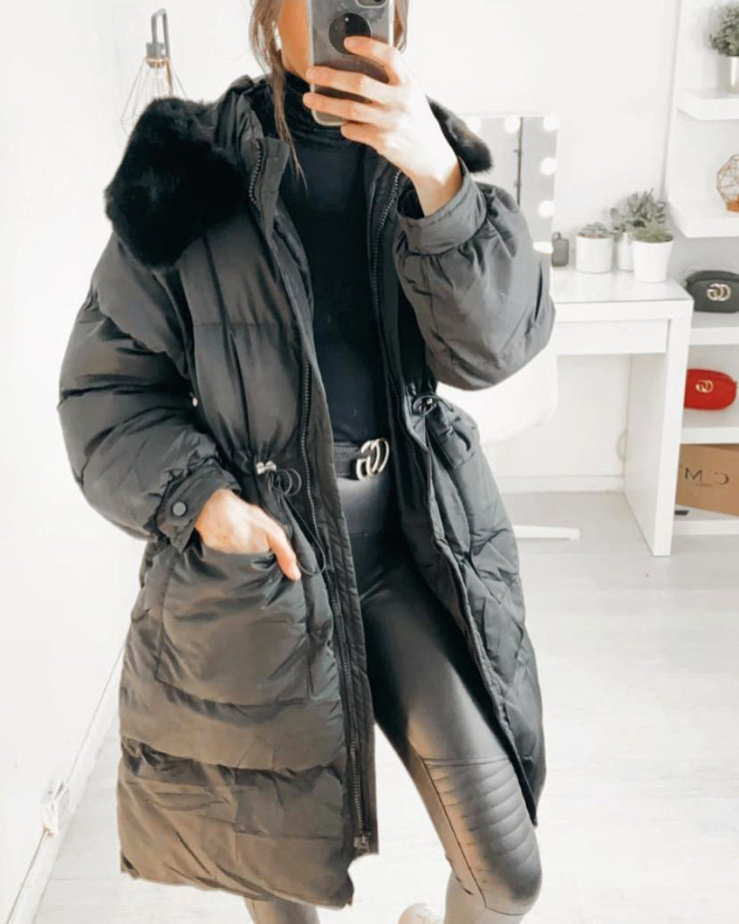 'Imogen' Black Longline Puffer Coat with Faux-Fur Hood
