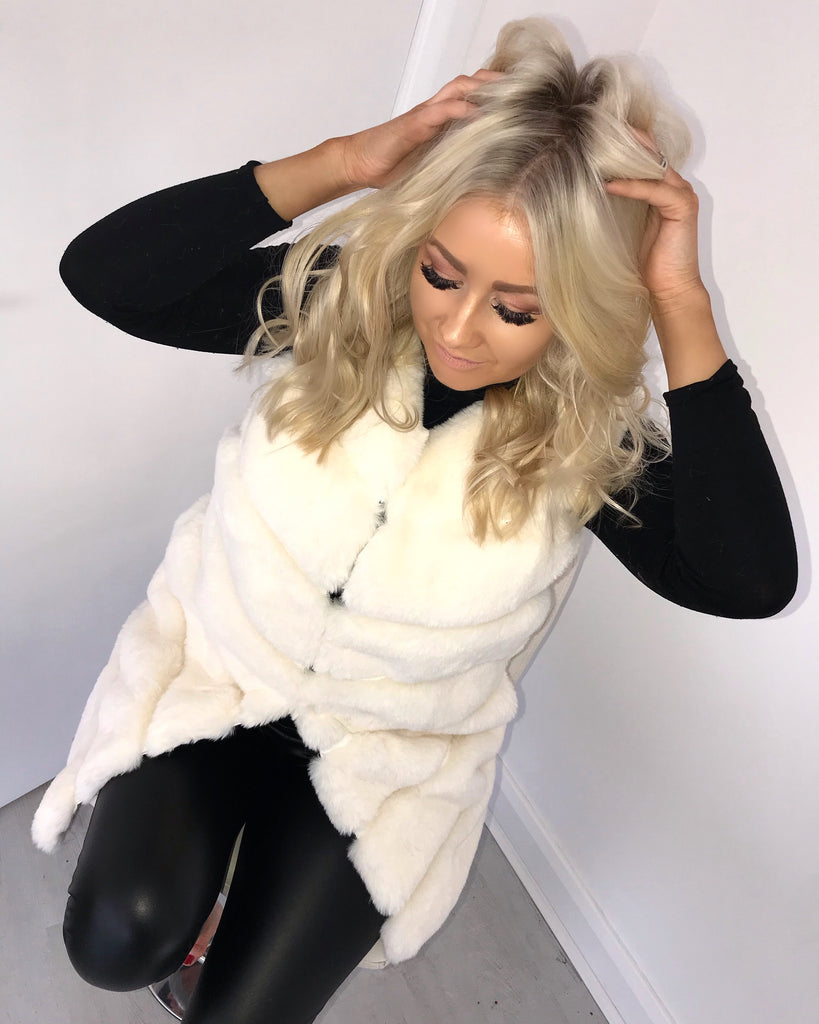 'Hope' Cream Super Soft Faux-Fur Gilet