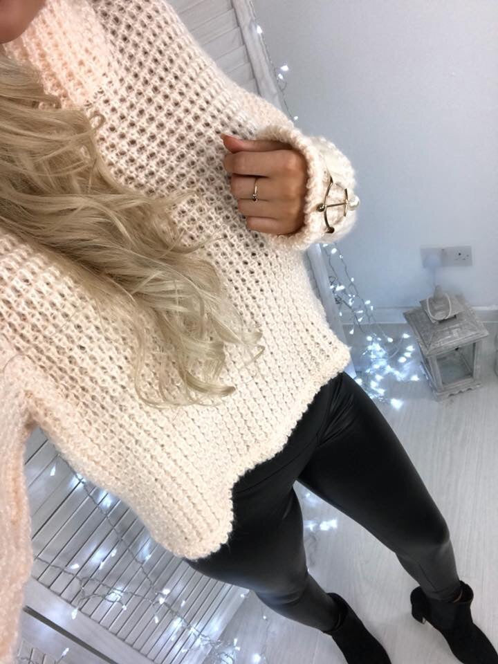 'Lucia' Nude Chunky-Knit High Neck Jumper