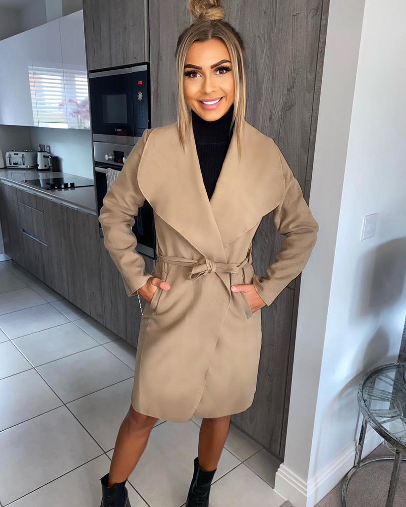 'Natalia' Camel Waterfall Coat