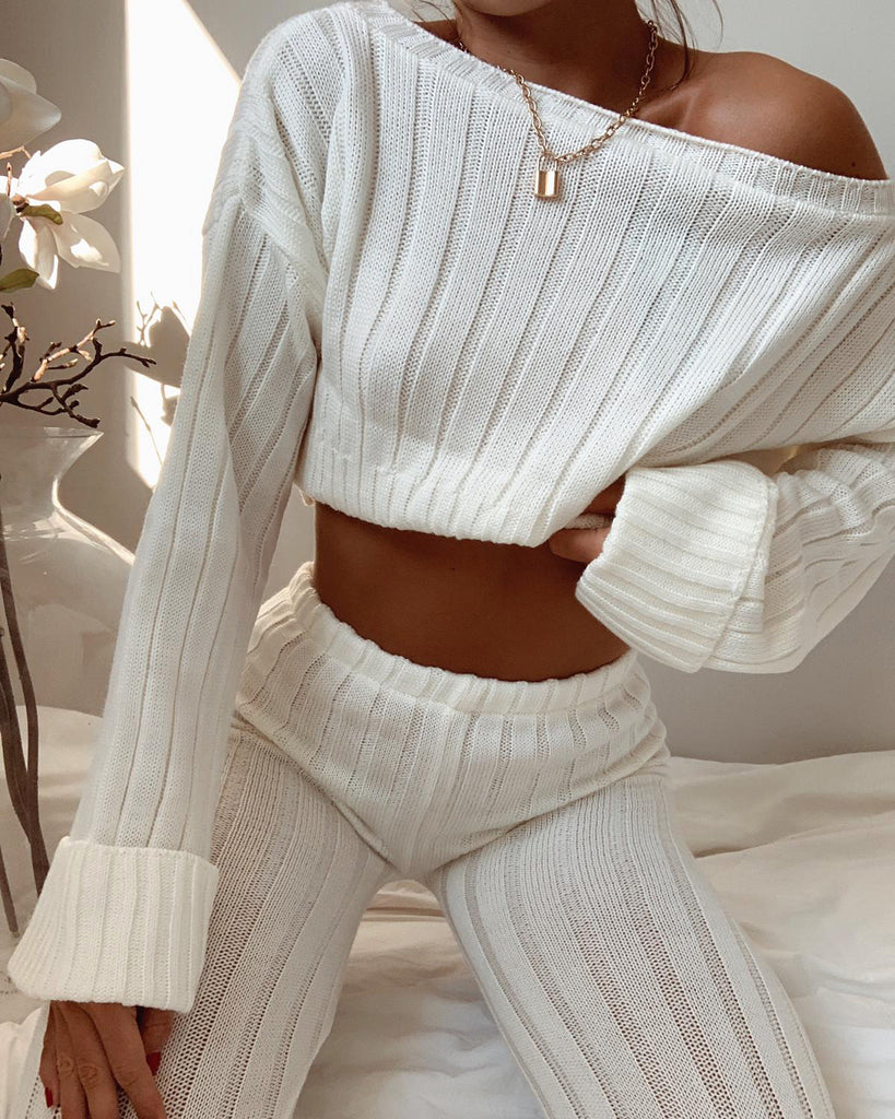 'Demi' Cream Knitted Top & Leggings Set