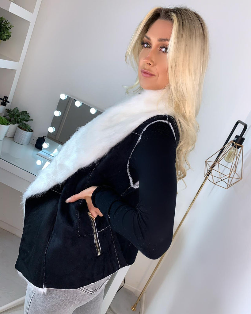 'Billie' Black Shearling Gilet with White Faux-Fur