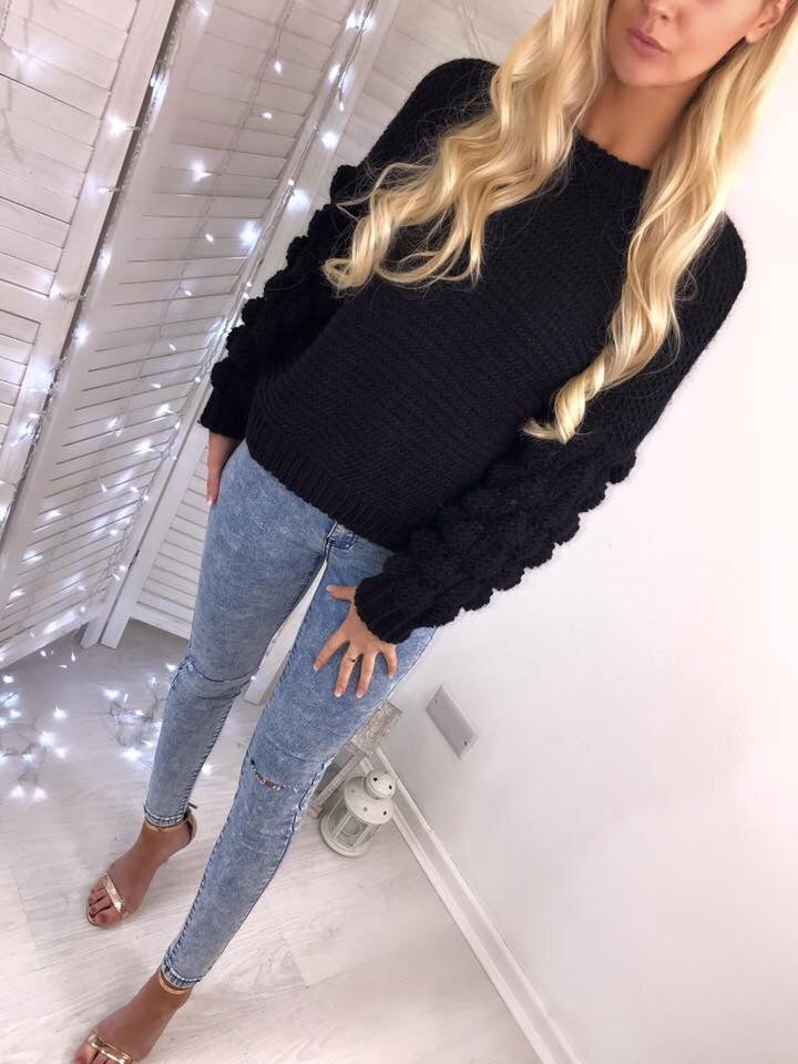 'Jada' Black Chunky Knit Bubble-Sleeve Jumper