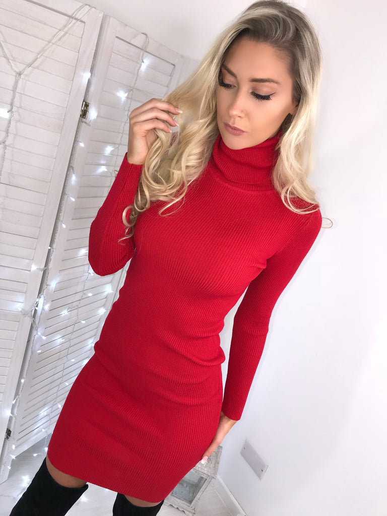 'Missy' Red Knitted Ribbed Roll-Neck Jumper Dress